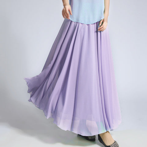 Pale Plum Chiffon Maxi Skirt with Extra Wide Hem - Long Thistle Chiffon Skirt - SK5e1