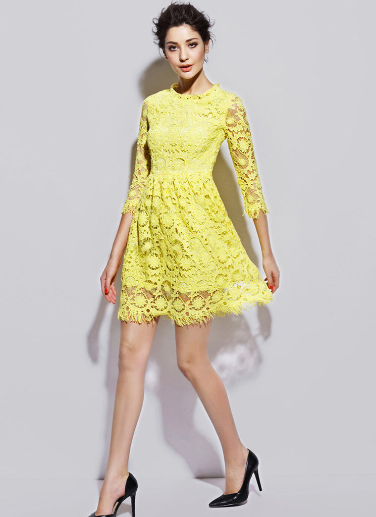 Bright Yellow Lace Mini Dress with Long Eyelash Details