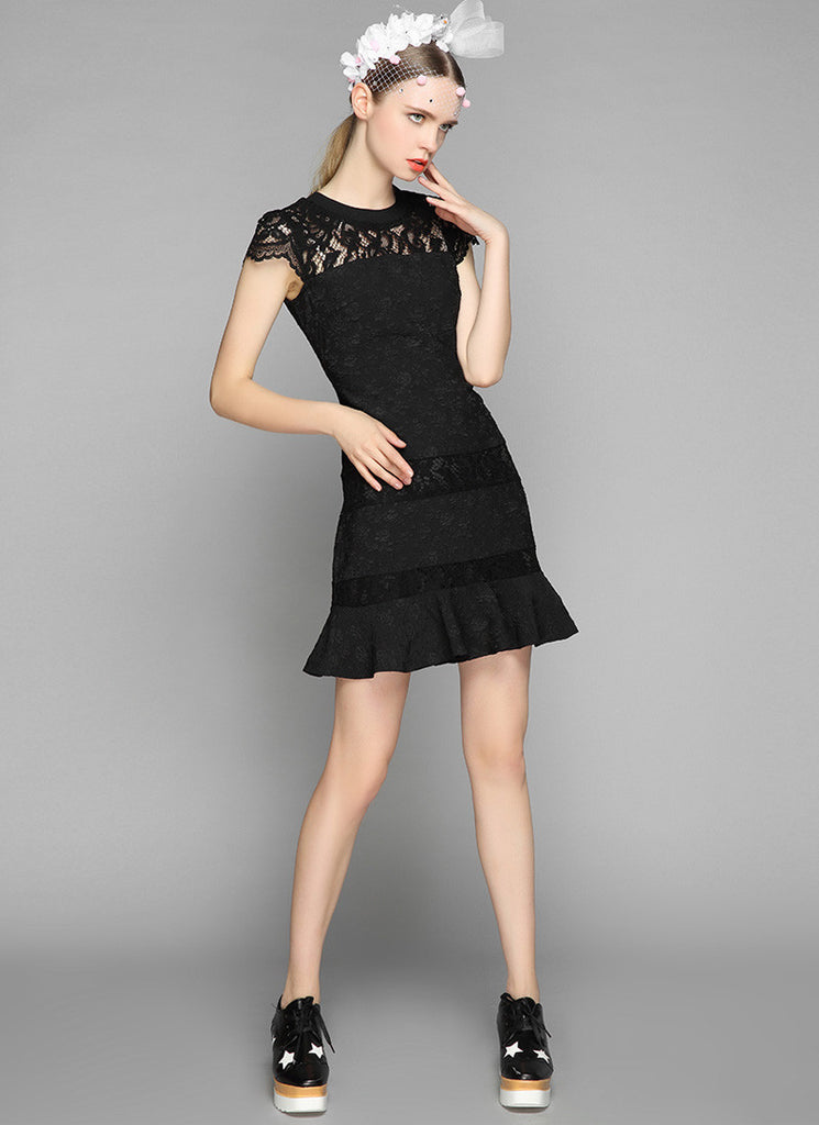 Black Jacquard Lace Aline Mini Dress with Cap Sleeves