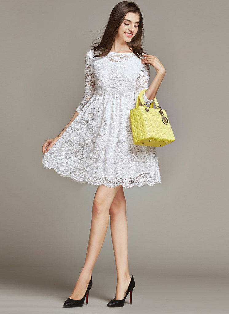 Empire Waisted White Lace Fit and Flare Mini Dress with Scalloped Hem and Peplum