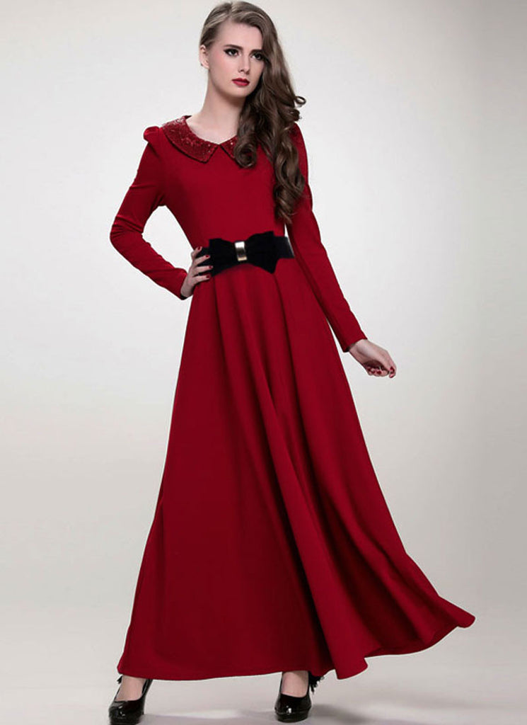 Maroon Maxi Dress with Sequined Peter Pan Collar
