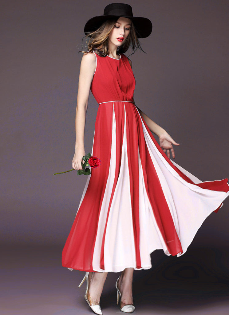 Red Chiffon Maxi Dress with Contrast White Fabric Insertion on Skirt