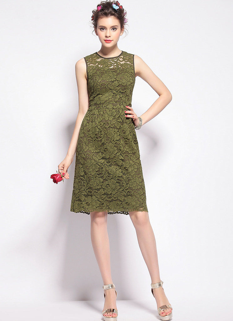 Olive Green Lace Aline Mini Dress with Scalloped Hem and Eyelash Finishes