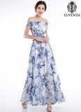 Blue and White Chiffon Ink Style Floral Print Maxi Evening Dress with Off-the-shoulder Design