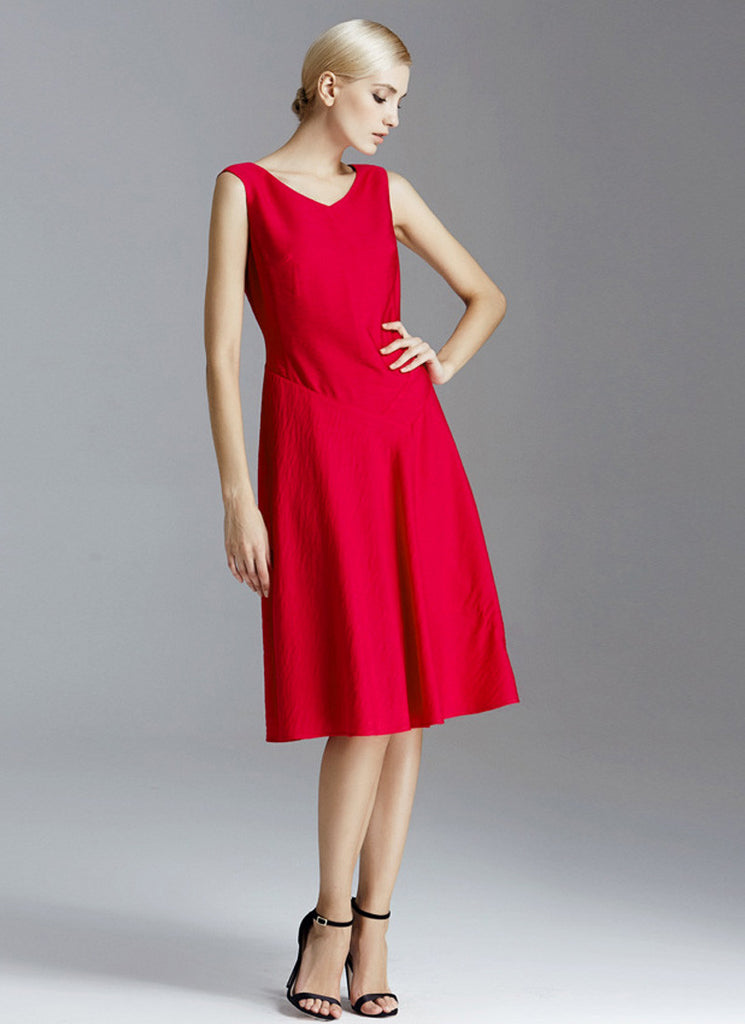 True Red Mini Aline Dress with V Neck and V Back