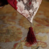 Maroon Floral Table Runner with Lace Trim Details and Ball Topped Fringes TR1