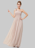 One Shoulder Bisque Maxi Dress with Floral Embellishment