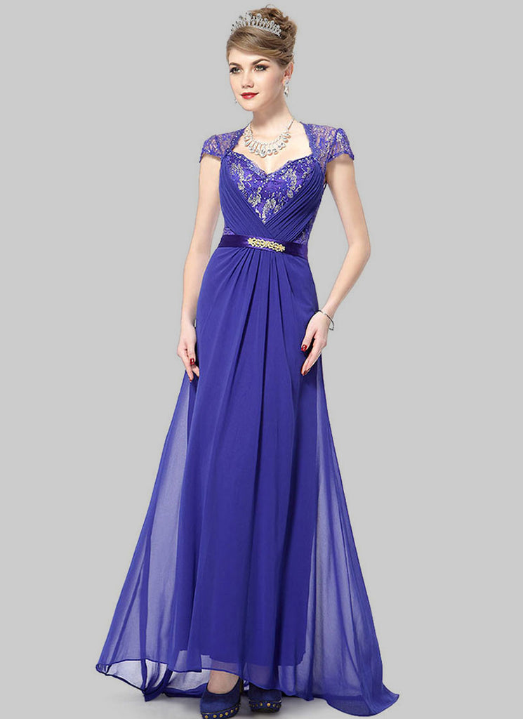 Blue Lace Evening Gown with Sequin & Rhinestone Embellishment