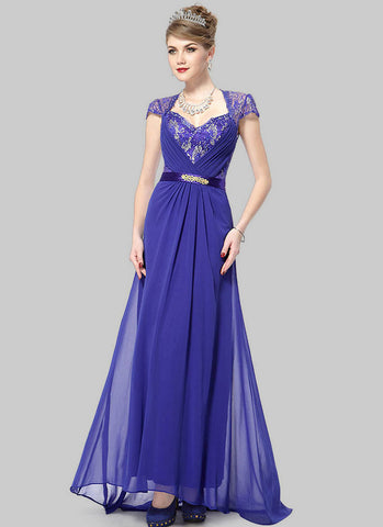 Blue Lace Evening Gown with Sequin & Rhinestone Embellishment RM471