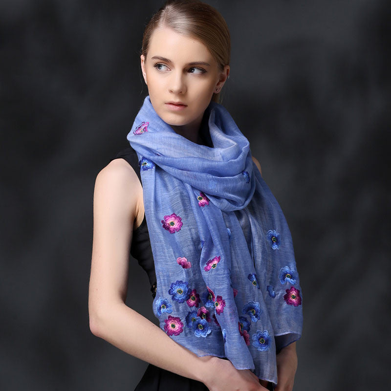 BLUE FLORAL EMBROIDERED MULBERRY SILK WOOL-BLEND SCARF - HANDMADE FLORAL EMBROIDERED SILK WOOL-BLEND SCARF - FLORAL EMBROIDERED SILK WOOL-BLEND SCARF - 2016P1