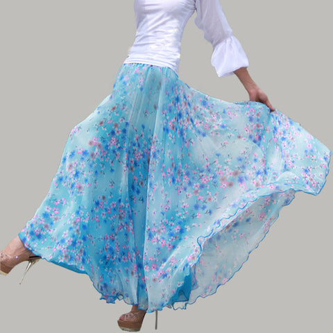 Blue Chiffon Maxi Skirt with Pastoral Floral Print - Blue Floral Maxi Skirt - SK8b