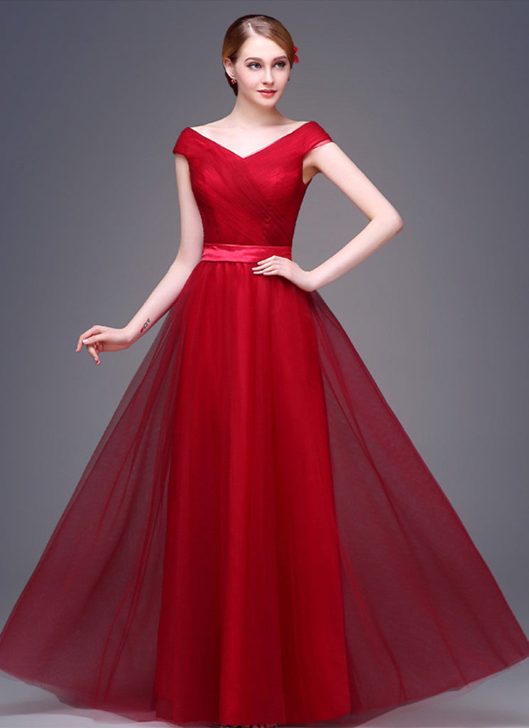 V Neck V Back Red Evening Dress with Tulle Overlay