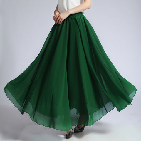 Forest Green Chiffon Maxi Skirt with Extra Wide Hem - Long Grass Green Chiffon Skirt - SK5c1