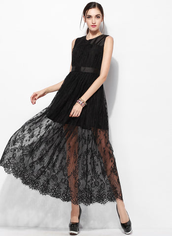 Sleeveless Black Lace Maxi Dress with Scalloped Hem and Satin Top RM652