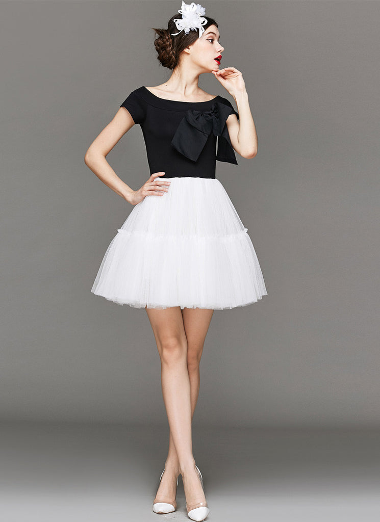Off-Shoulder Black and White Tulle Mini Dress