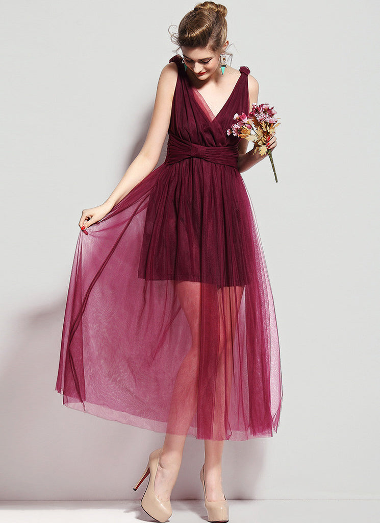 Maroon V Neck V Back Maxi Dress with Ruched Waist Yoke