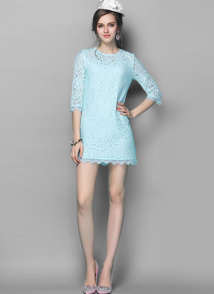 Aqua Blue Lace Sheath Mini Dress with Scalloped Hem and Eyelash