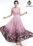 Gradient Purple Spaghetti Halter Top Maxi Length Evening Dress with Artsy Butterfly and Floral Print