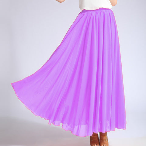 Orchid Chiffon Maxi Skirt with Extra Wide Hem - Long Violet Chiffon Skirt - SK5h1