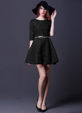 Half Sleeve Black Lace Fit and Flare Mini Dress RD365