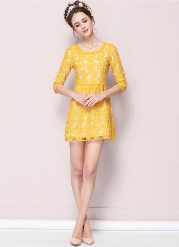 Bright Yellow Lace Aline Mini Dress with Scalloped Hem RD546