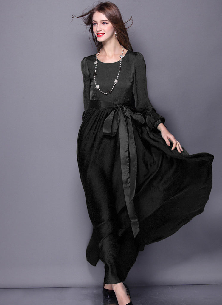 Open Back Long Sleeved Black Maxi Dress with Sash