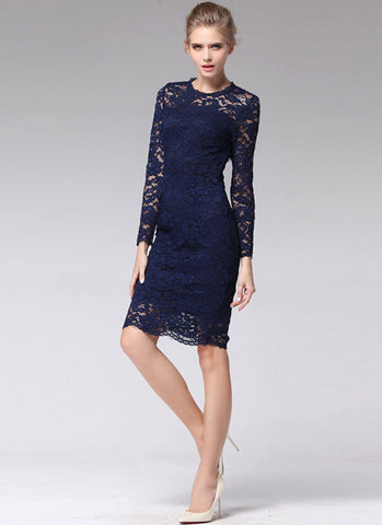 Long Sleeve Navy Lace Sheath Mini Dress with Bow Embellishment RD387