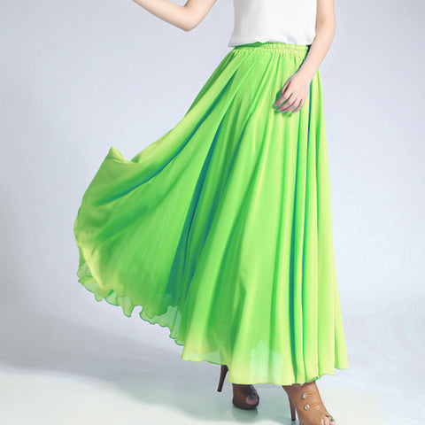 Lime Green Chiffon Maxi Skirt with Extra Wide Hem - Long Lime Chiffon Skirt - SK5d1