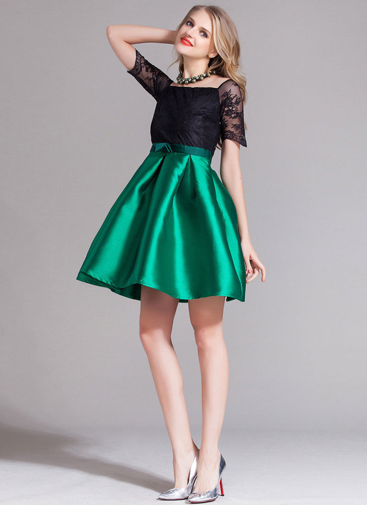 Contrast Color Lace Satin Mini Dress with Bow Belt (Green Skirt)