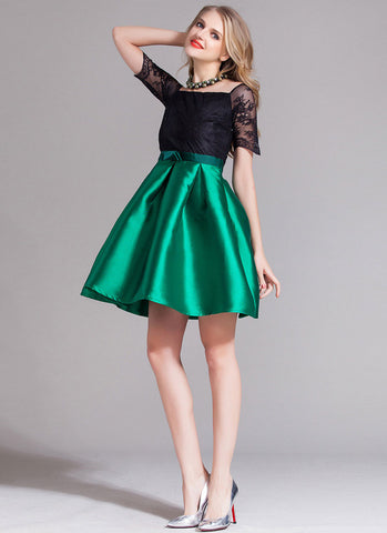 Contrast Color Lace Satin Mini Dress with Bow Belt (Green Skirt) RD376