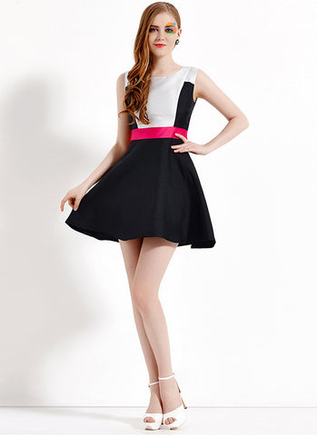 Black Aline Satin Mini Dress with White Top and Red Waist RD564