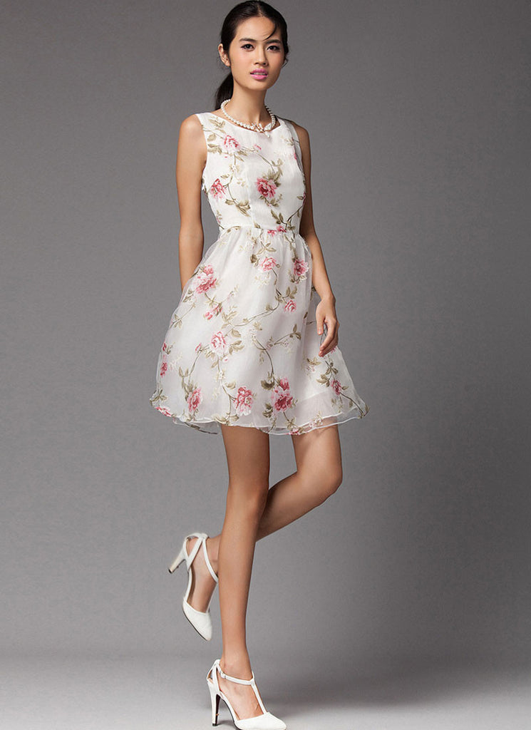 Sleeveless Floral Printed Organza Mini Dress