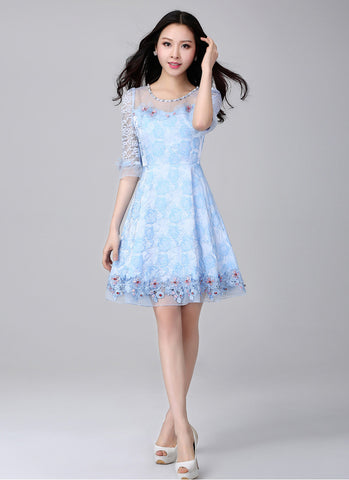Light Blue Lace Fit and Flare Mini Dress with 3D Appliqué and Cabochon Embellishment RD543