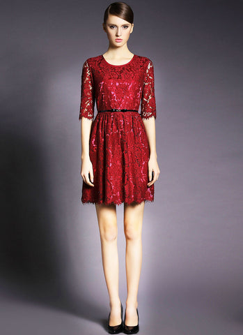 Half Sleeve Red Lace Mini Dress with Eyelash Details RD386