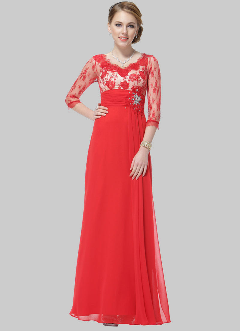 Red Lace Evening Gown with Appliqué and Rhinestone Embellishment ...