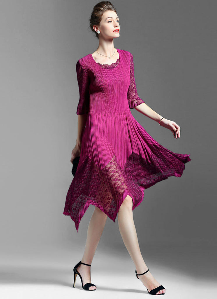 Pleated Asymmetric Fuchsia Lace Chiffon Midi Dress with Layered V Neck and Lantern Sleeves