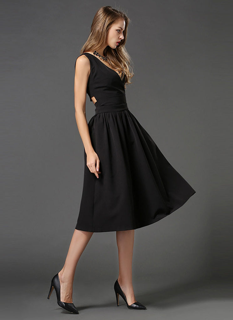 V Neck Black Midi Dress with Cut Back