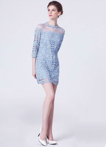 Light Blue Lace Mini Sheath Dress with Bead and Rhinestone Embellishment RD291