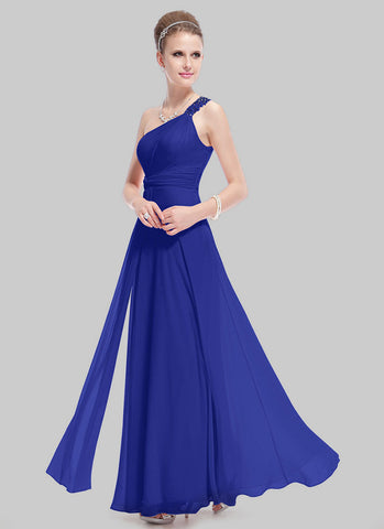 One Shoulder Royal Blue Evening Dress with Lace Details RM481