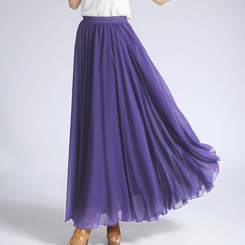 Slate Blue Chiffon Maxi Skirt with Extra Wide Hem