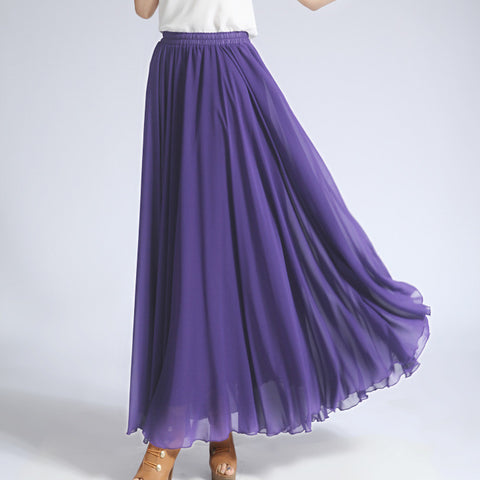 Slate Blue Chiffon Maxi Skirt with Extra Wide Hem - Long Medium Purple Chiffon Skirt - SK5g1