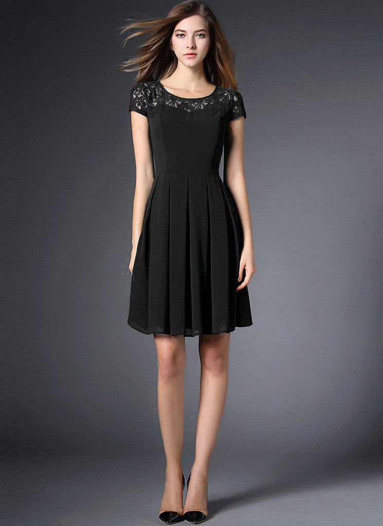 Black Lace Chiffon Mini Fit and Flare Dress with Cap Sleeves