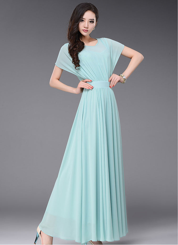 Pale Turquoise Maxi Dress with Dolman Sleeves