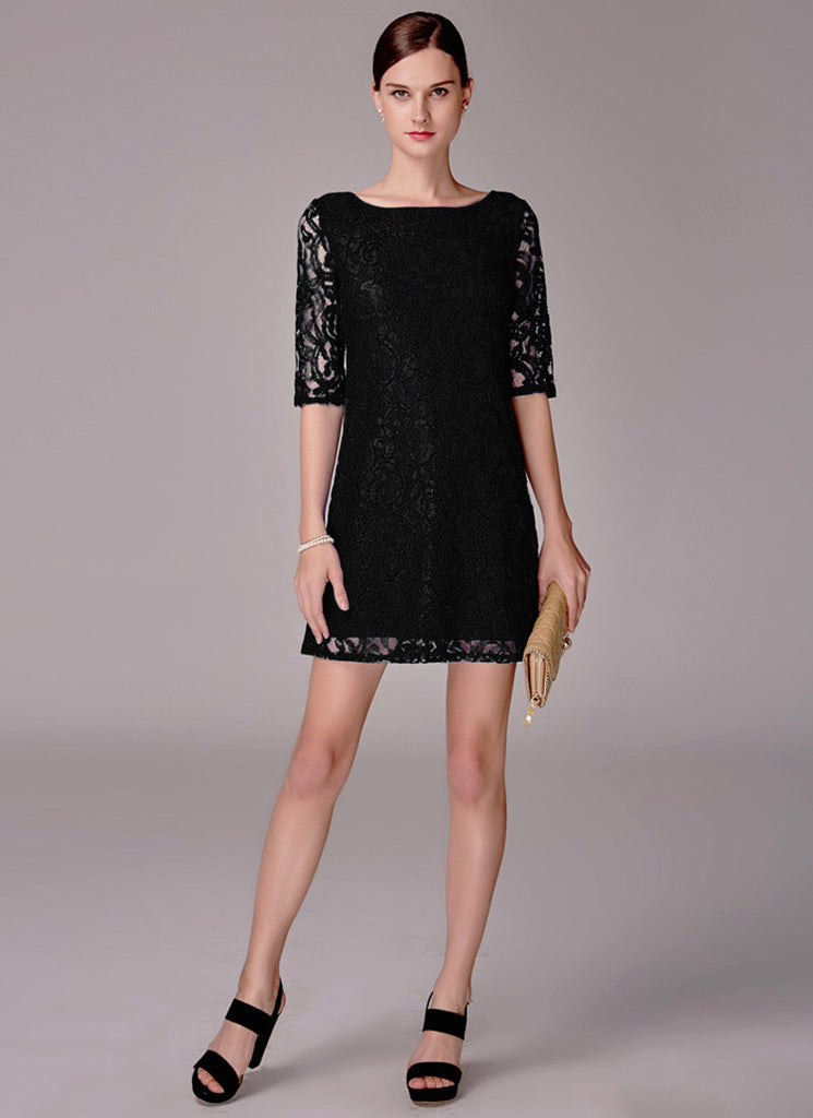 Black Lace Mini Dress with Elbow Sleeves
