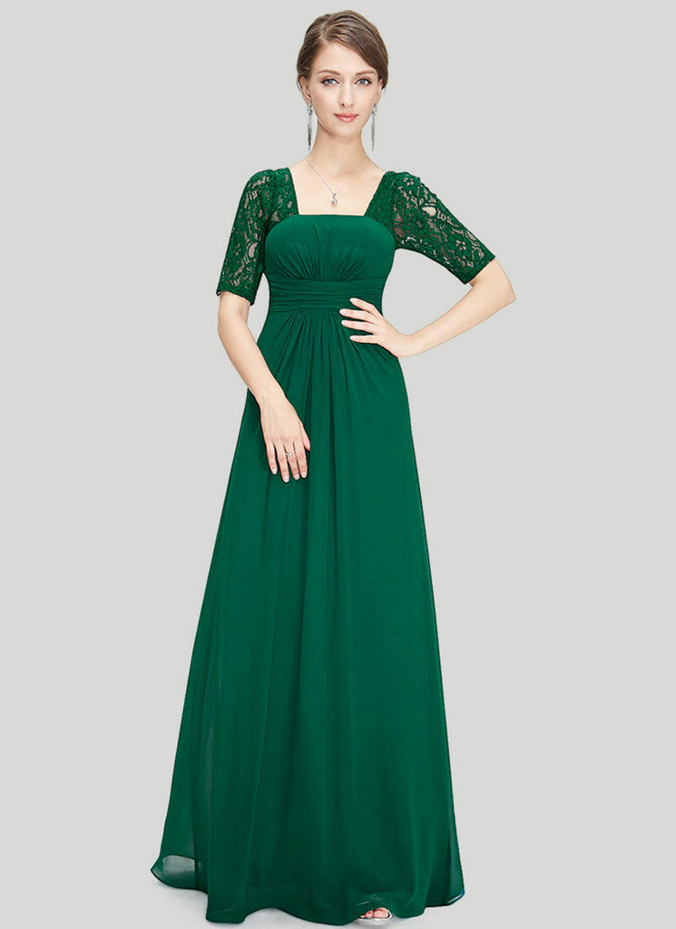 Empire Waisted Emerald Green Lace Chiffon Maxi Dress with Open Back