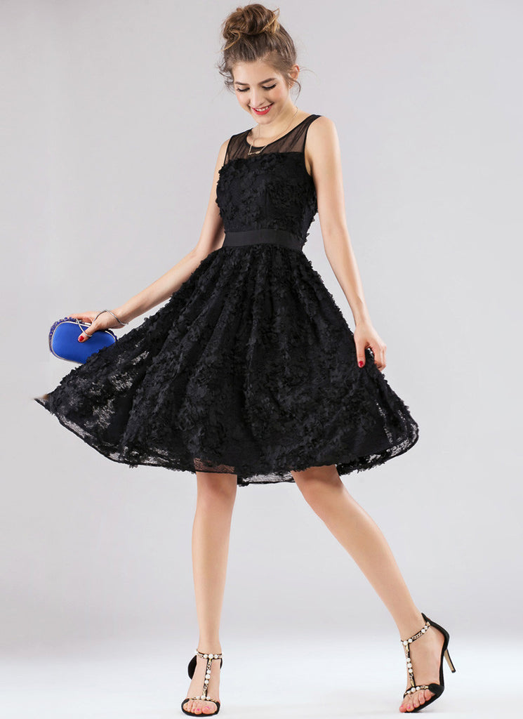 Black Lace Fit and Flare Mini Dress (3D Lace) with Bow Belt
