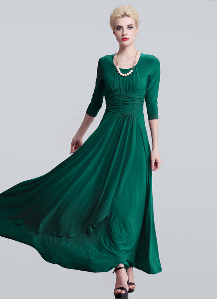 Half Sleeved Emerald Green Maxi Dress with Ruched Wide Waist Yoke
