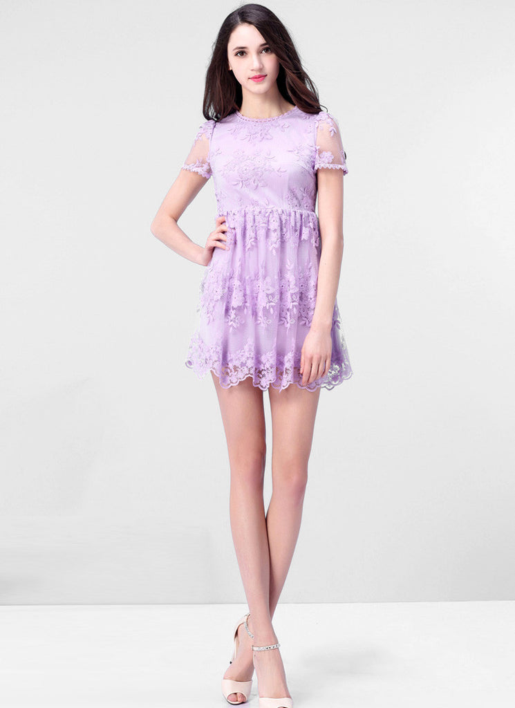 Violet Tulle Lace Mini Fit and Flare Dress with Scalloped Hem