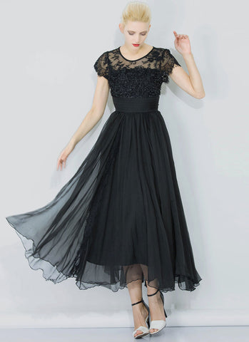 Black Lace Chiffon Maxi Dress with 3D Appliqué and Eyelash Details RM326