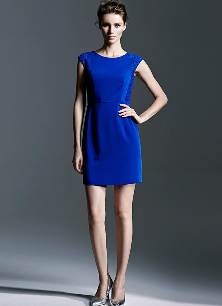 Royal Blue Sheath Dress with Lace Details